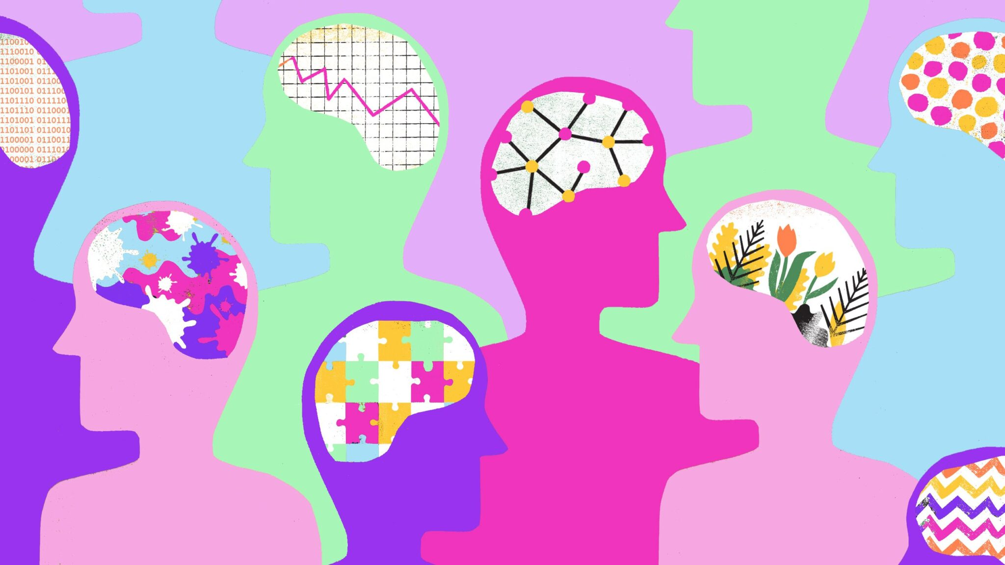 A colourful illusration of pink and purple silhouettes showing the contents of their brains: flowers and puzzles and polkadots