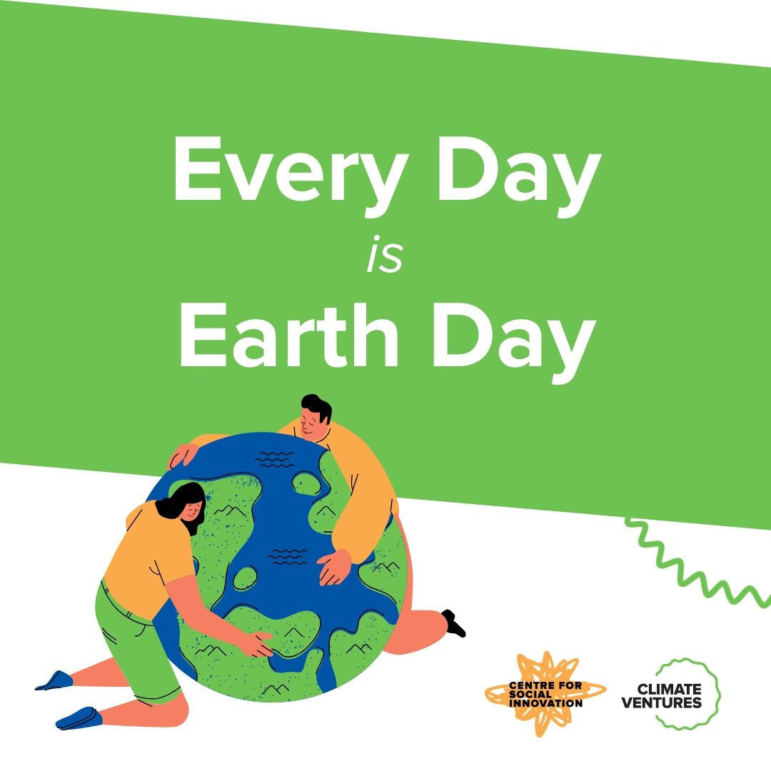 Every Day is Earth Day. Image of people hugging the Earth.