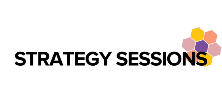 """Strategy Sessions"" in black text over WOSEN honeycomb shape"