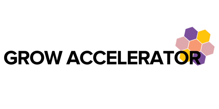 """Grow Accelerator"" in black text over WOSEN honeycomb shape"