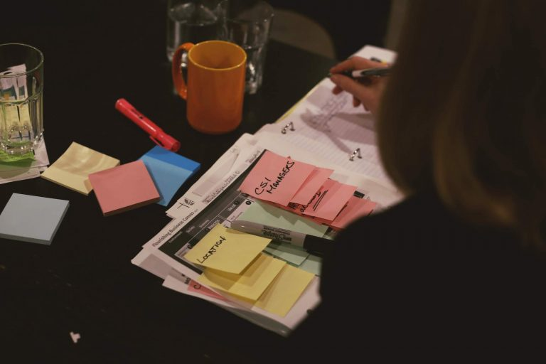 Coloured post-it notes layered on top of one another. Photographer: Sammy Tangir
