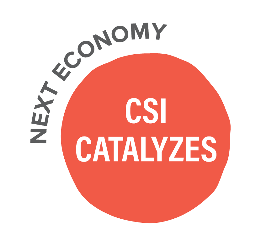 "Pink circle with ""CSI Catalyzes"" in white font. ""Next Economy"" curves around the top left of the circle."