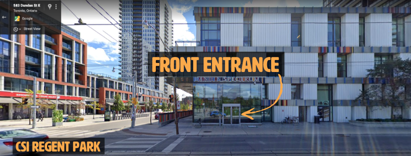 Screenshot of Regent Park with arrow pointing to front entrance