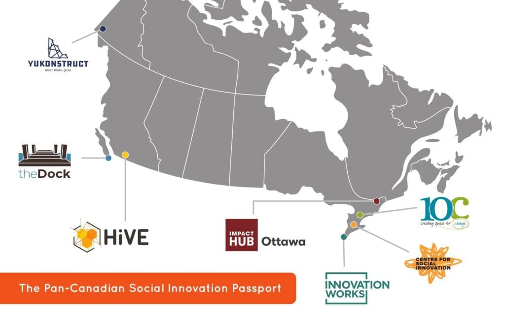 Map of Canadian Coworking Passport locations