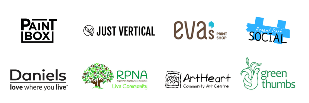 Every One Every Day sponsors: Paintbox Bistro, Just Vertical, Eva's Print Shop, Regent Park Social, Daniels, Regent Park Neighbourhood Association, ArtHeart, and Green Thumbs