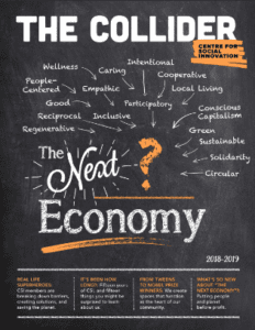 Cover of The Collider Magazine - 2018-2019 Edition, featuring The Next Economy.