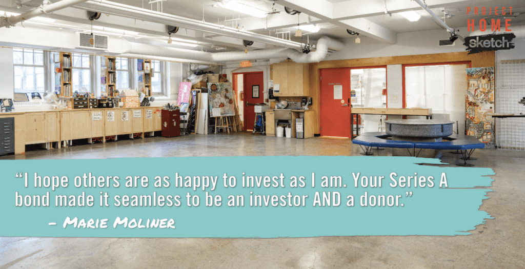 "Quote from Marie Moliner: ""I hope others are as happy to invest as I am. Your Series A Bond made it seamless to be an investor and a donor."""