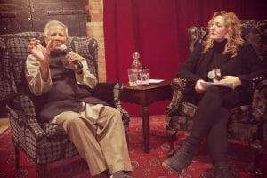 Muhammed Yunis talking with Tonya Surman
