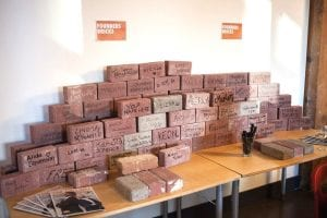Founders bricks with people's names written on them