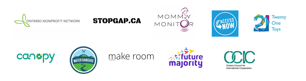 Logo Bar of CSI Members and Alumni: Ontario Nonprofit Network, StopGap Foundation, Mommy Monitor, AccessNow, Twenty One Toys, Canopy, Waer Rangers, makeroom, Future Majority, Ontario Council of International Cooperation