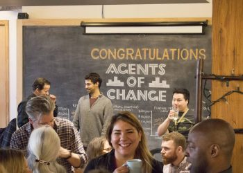 People networking at the Agents of Change City Builders Event