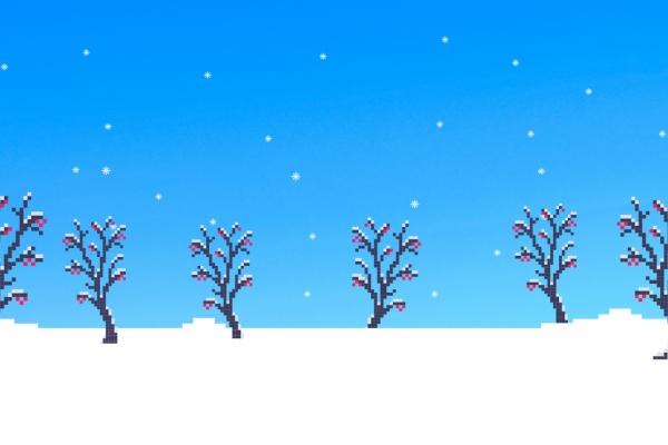 snowy 8bit pixel art