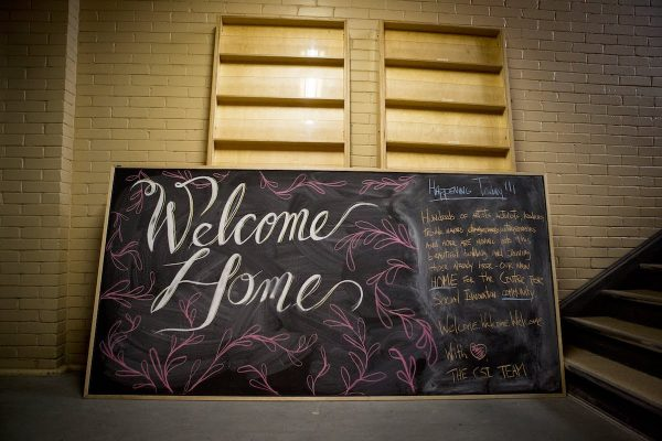 Welcome Home chalkboard sign