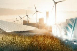 Solar panels, wind turbines, and building labelled energy storage in background of sun-lit field.